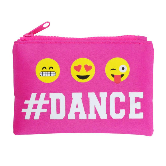 Pink Poppy Pixel Emoji Dance Zipped Coin Purse Hot Pink - BumpsieDaisy