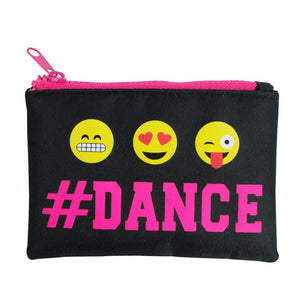 Pink Poppy Pixel Emoji # Dance Zipped Coin Purse Black - BumpsieDaisy