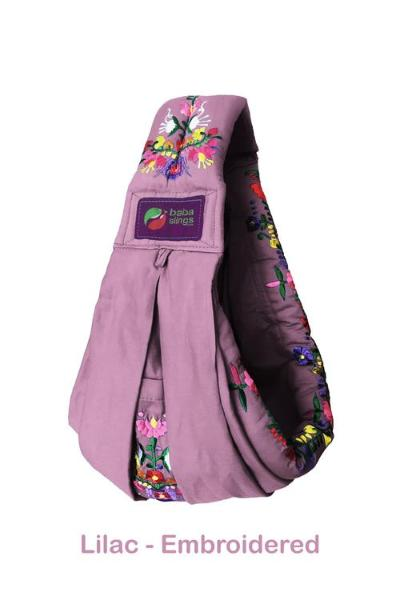 Baba Sling Baby Carrier Embroidered Lilac - BumpsieDaisy