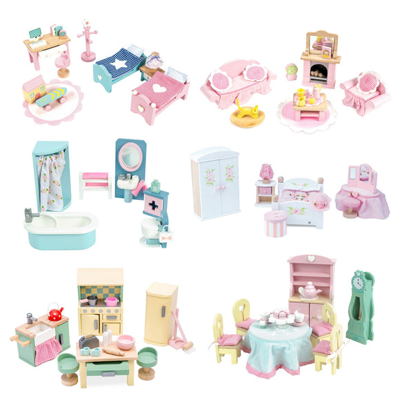 Le Toy Van Rosebud Daisylane Doll House 6 Room Wood Furniture Set Daisy Lane - BumpsieDaisy