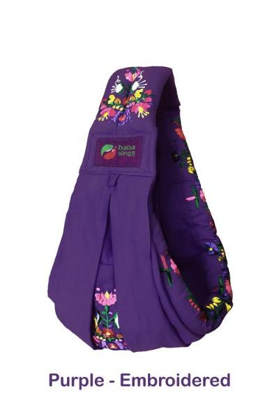 Baba Sling Baby Carrier Embroidered Purple - BumpsieDaisy