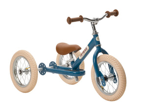Trybike 2 in 1 Steel Tricycle Balance Bike Vintage Style Chrome Parts Cream Tyres