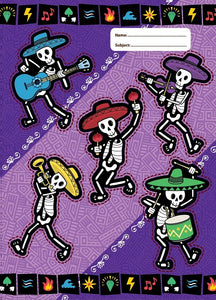 Spencil Band of Bones Skeleton Musicians IlI A4 School Book Cover - BumpsieDaisy