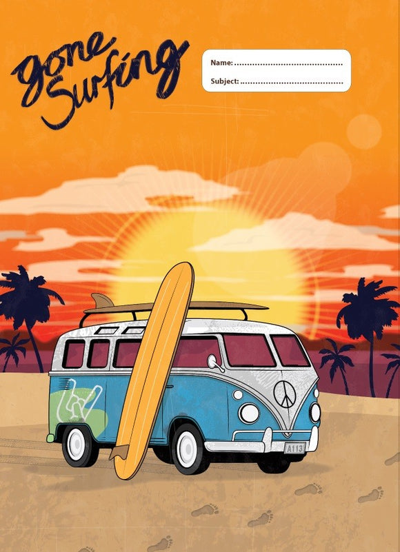 Spencil Gone Surfing I Surf Kombi Combi A4 School Book Cover