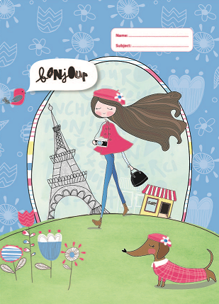 New Design Spencil Paris Girl A4 School Book Cover - BumpsieDaisy