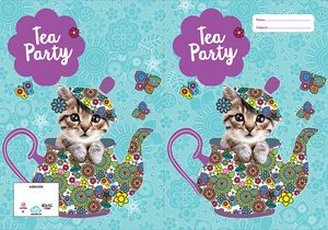 Spencil Flutterby Tea Party Cat Kitten A4 School Book Cover - BumpsieDaisy