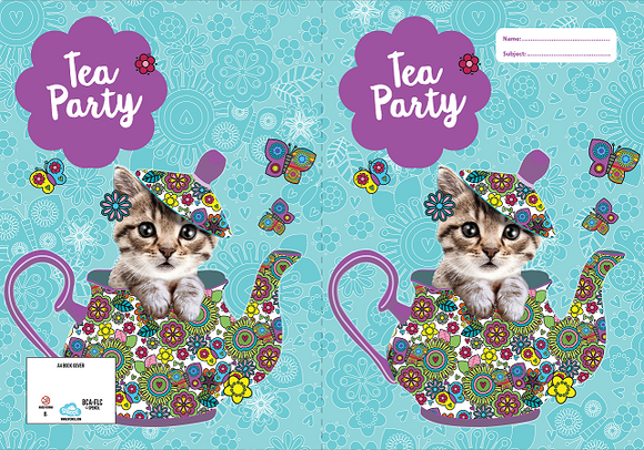 Spencil Flutterby Tea Party Cat Kitten A4 School Book Cover