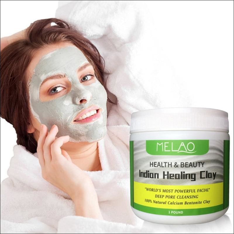 Indian Healing Clay Face Mask Powder | Natural Deep Skin Pore Cleansing Moisturizing Replenishing Oil Control Shrink Pores
