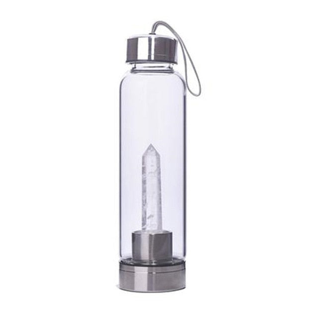 Natural Quartz Crystal Point Healing Water Bottle 0.5L | Structured Water Elixir | USA ship