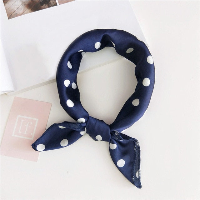 Navy Blue Polka Dot Scarf