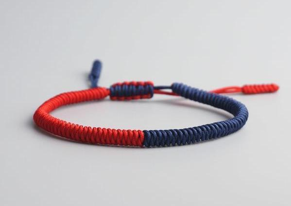 Fiery red and Blue mixed tibetan handmade bracelet knot.