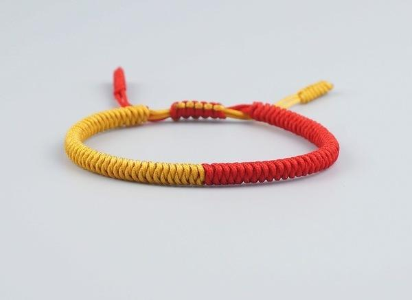 Yellow and Fiery Red Lucky Handmade Tibetan Bracelet.