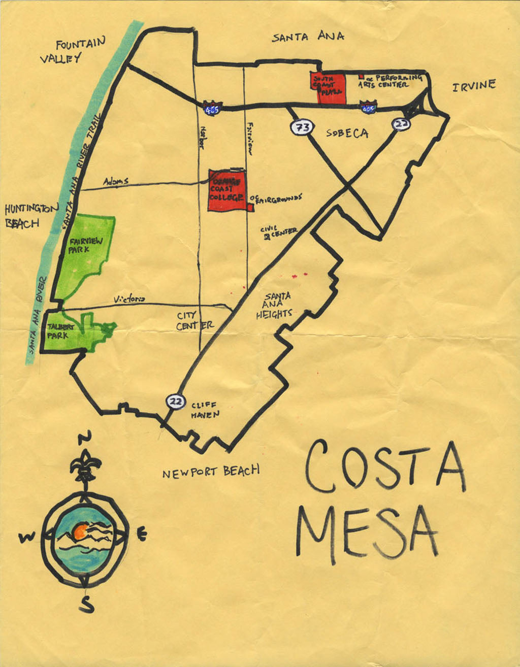 Pendersleigh Cartography Costa Mesa Map by Eric Brightwell
