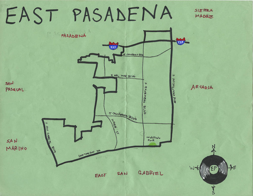 Pendersleigh Cartography East Pasadena Map by Eric Brightwell