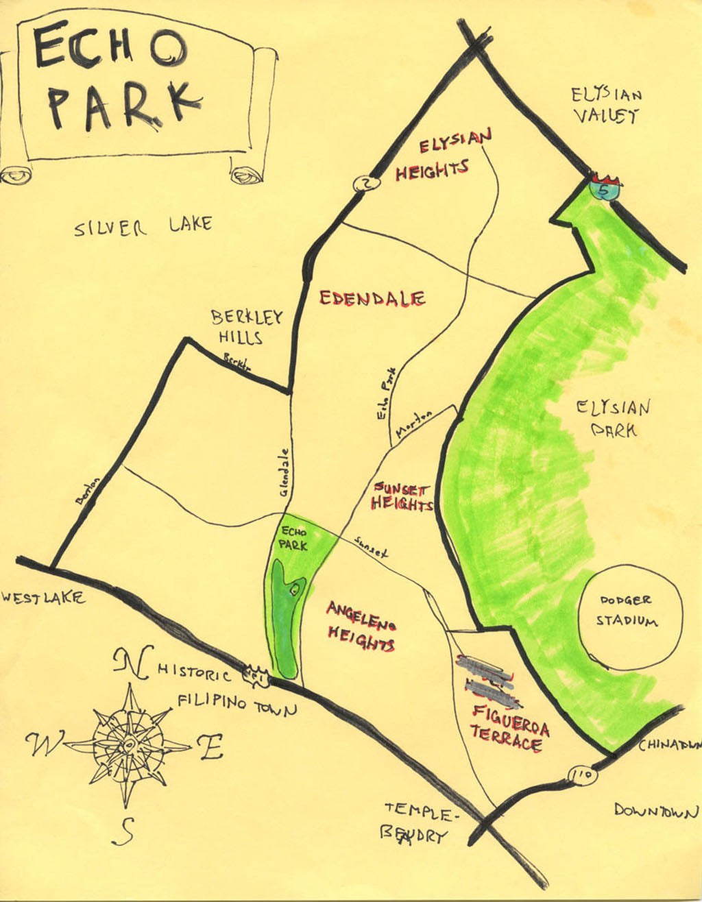Pendersleigh Cartography Echo Park Map by Eric Brightwell