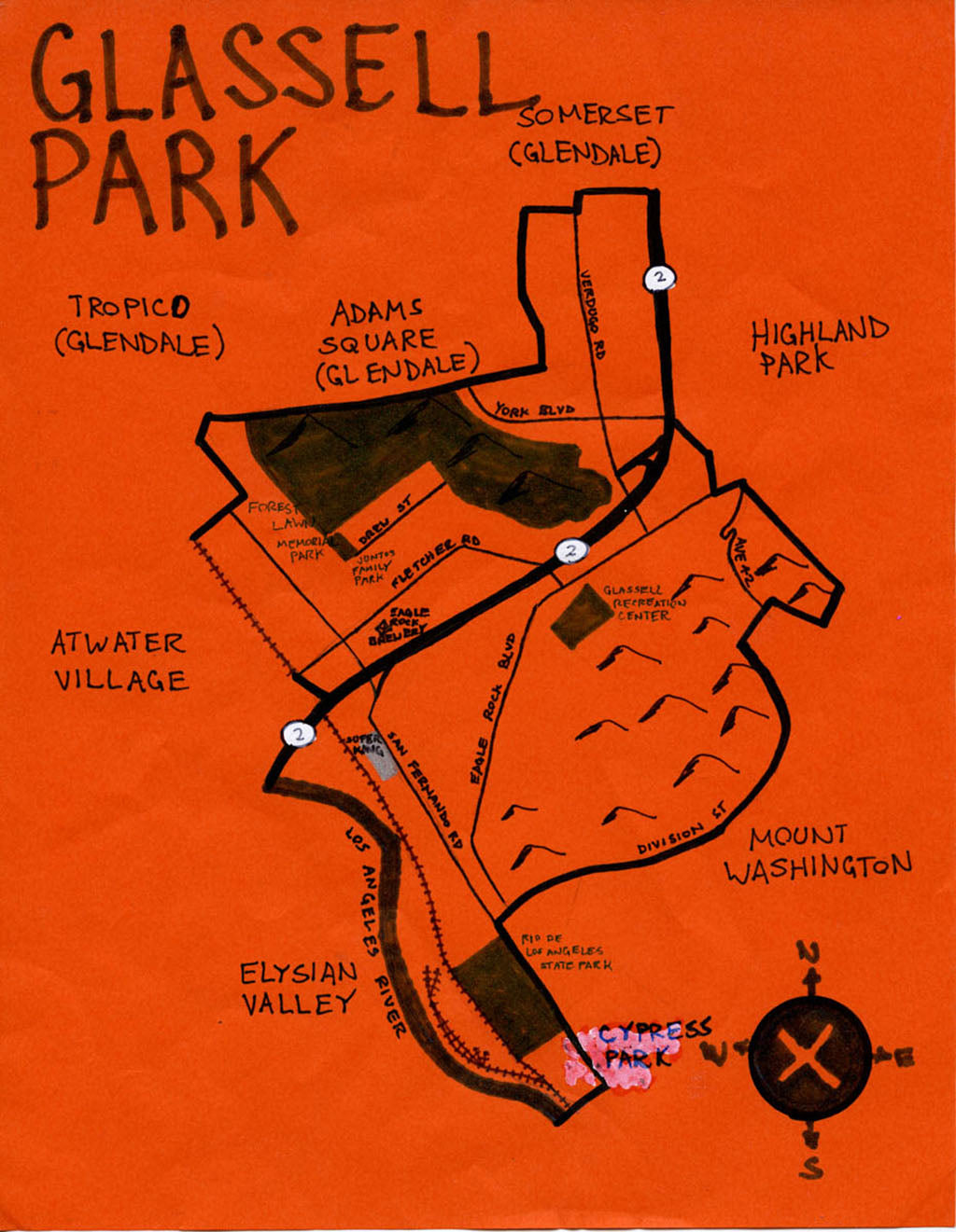 Pendersleigh Cartography Glassell Park Map by Eric Brightwell