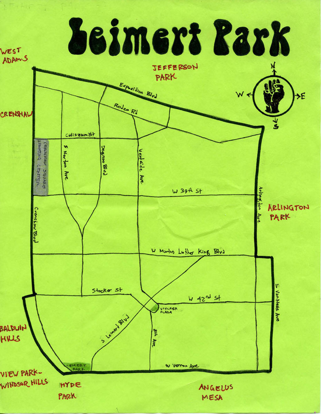 Pendersleigh Cartography Leimert Park Map by Eric Brightwell