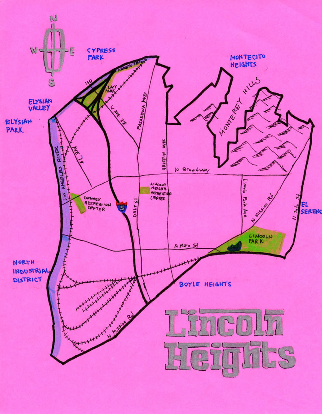 Pendersleigh Cartography Lincoln Heights Map by Eric Brightwell