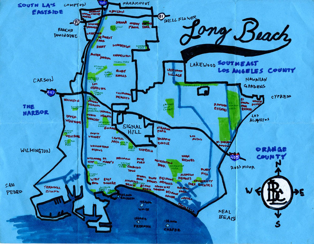 Pendersleigh Cartography Long Beach Map by Eric Brightwell