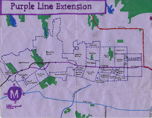 Pendersleigh Cartography Purple Line Extension Map by Eric Brightwell