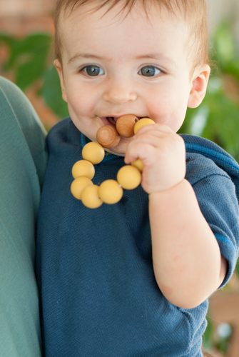 Chewable Charm Silicone + Wood Teether Toy - Mustard