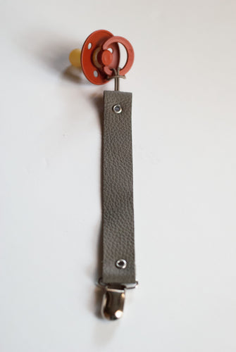 Leather Pacifier Clip - Slate