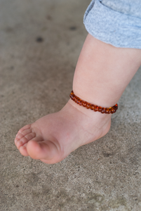 Baltic Amber Teething Anklet - Polished Cognac