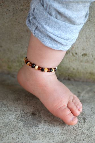 Baltic Amber Teething Anklet - Polished Multi-colored