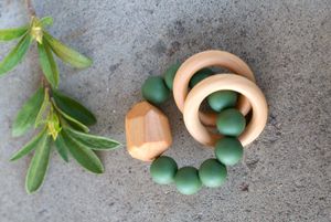 Silicone + Wood Teether Toy - Kale