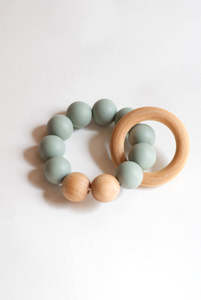 Silicone + Wood Teething Toy - Succulent