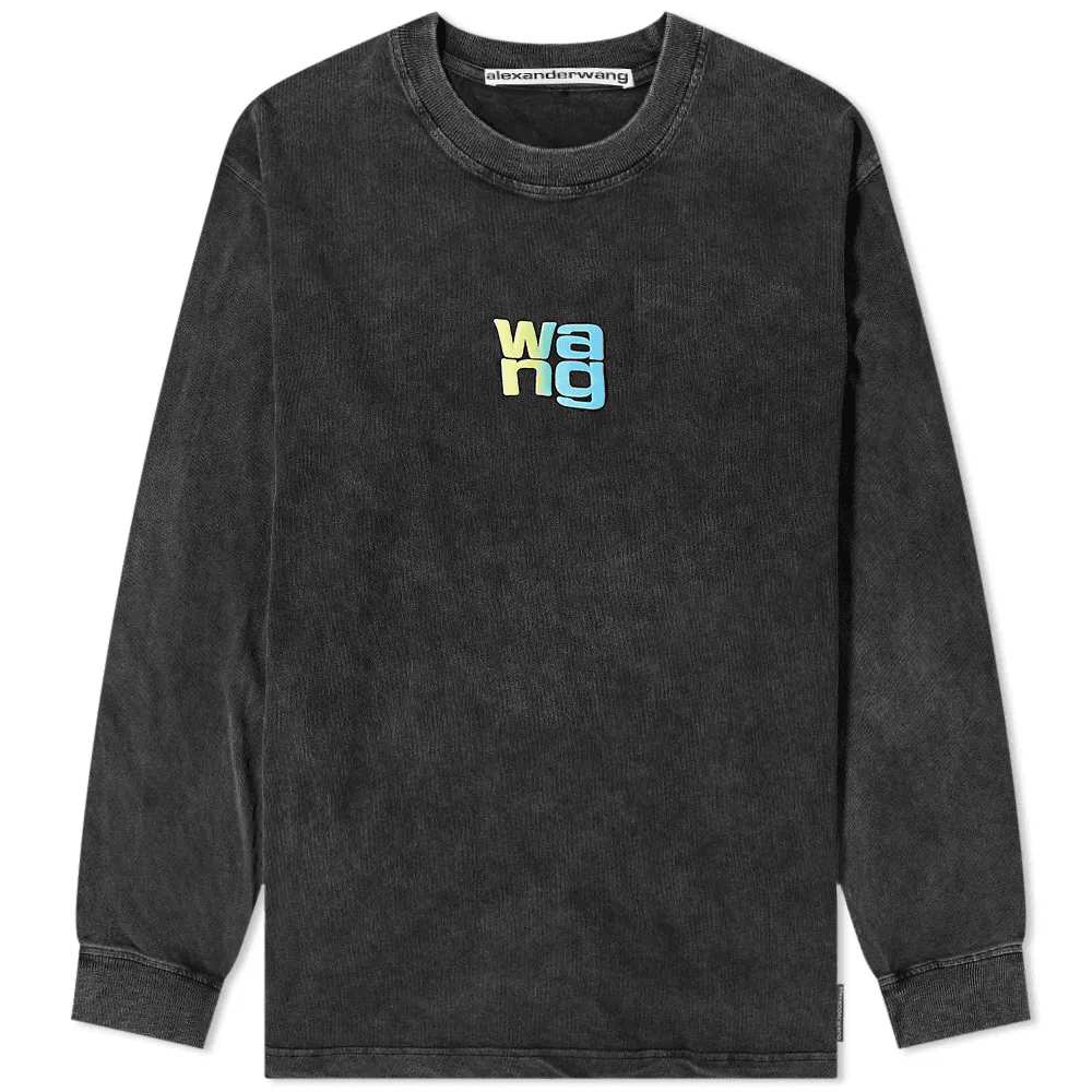 DISTRESSED LOGO WASHED LONG SLEEVE TEE