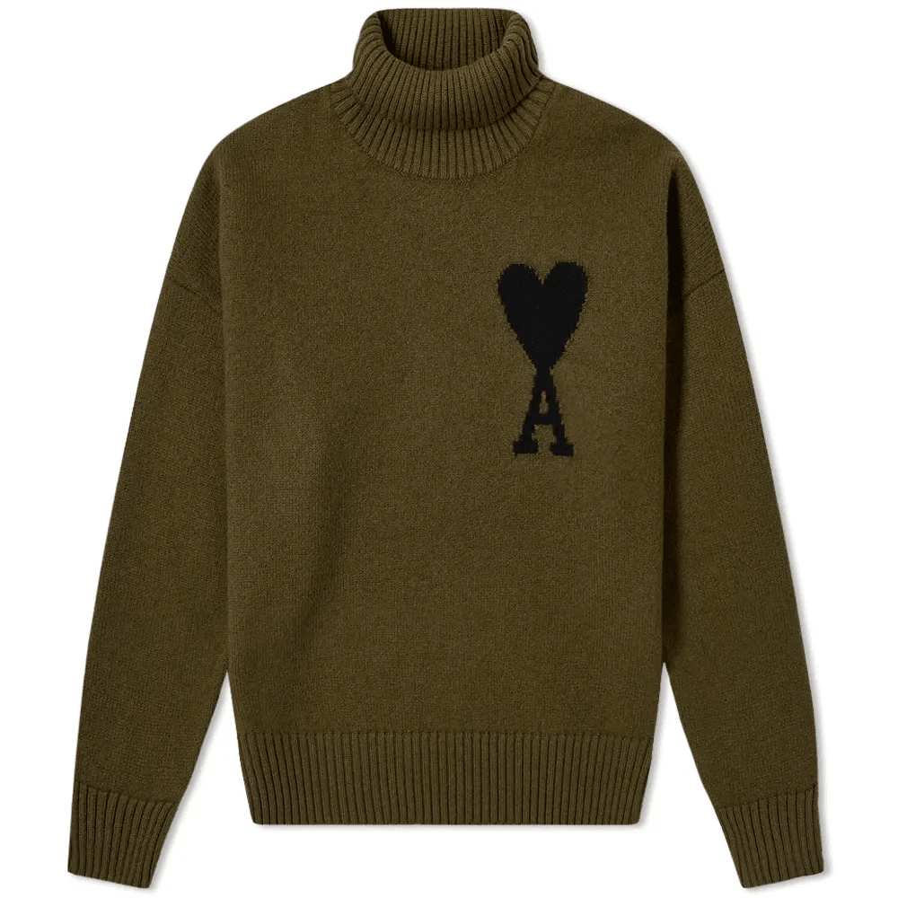 A HEART INTARSIA ROLL NECK KNIT