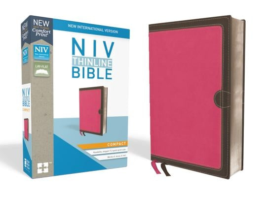 NIV, Thinline Bible, Compact, Imitation Leather, Pink/Brown, Red Letter Edition by Zondervan
