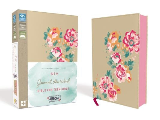 NIV, Journal the Word Bible for Teen Girls, Imitation Leather, Gold/Floral: Includes Hundreds of Journaling Prompts! by Zondervan