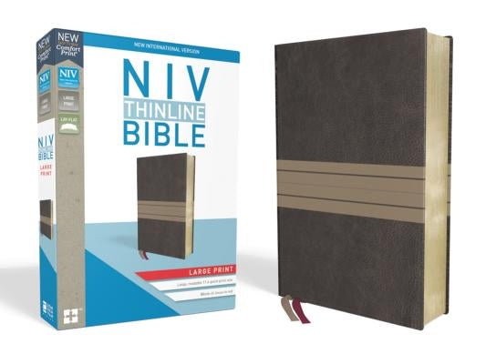 NIV, Thinline Bible, Large Print, Imitation Leather, Brown/Tan, Red Letter Edition by Zondervan