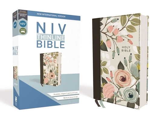 Niv, Thinline Bible, Cloth Over Board, Floral, Red Letter Edition, Comfort Print by Zondervan