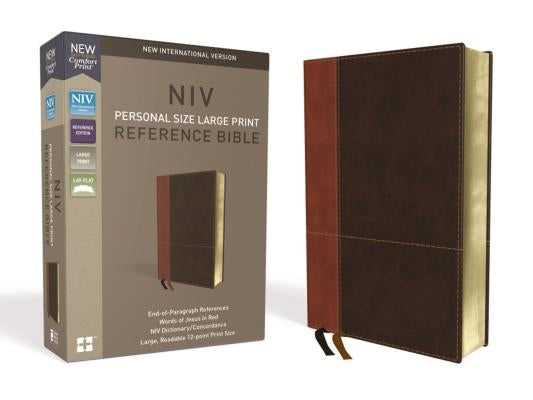 NIV, Personal Size Reference Bible, Large Print, Imitation Leather, Brown, Red Letter Edition, Comfort Print by Zondervan