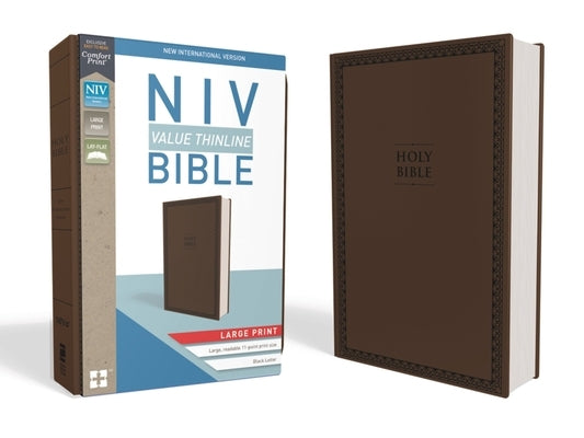 NIV, Value Thinline Bible, Large Print, Imitation Leather, Brown by Zondervan