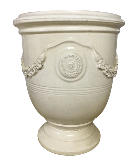 17th Century Anduze Planter in Crackled White