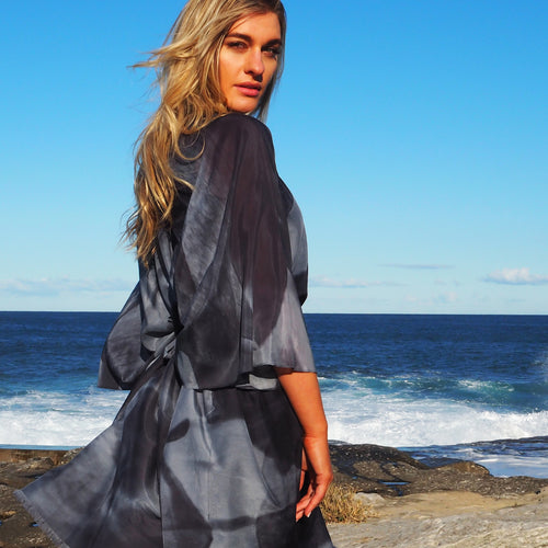 Black and Charcoal Hydrangea Kaftan