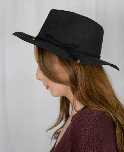 Faux Suede Ribbon Trim Fedora