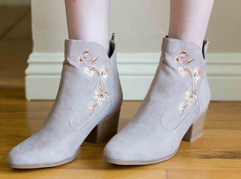 Nero Embroidered Booties
