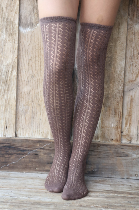 Mocha Over the Knee Socks