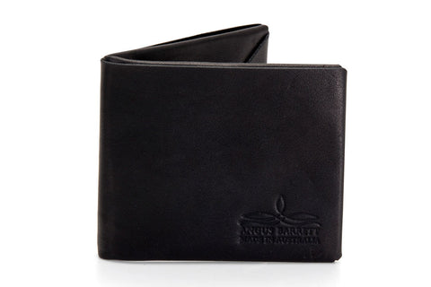 Angus Barrett The Mick Kangaroo Leather Bi-Fold Wallet in Black
