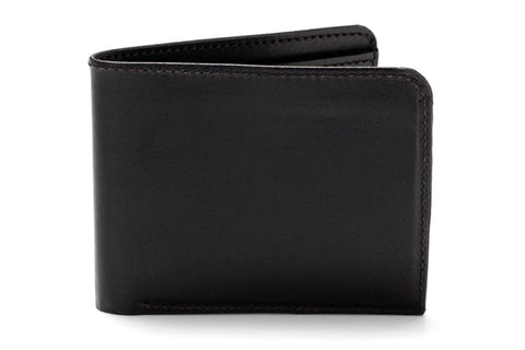 Angus Barrett's Classic Bi-Fold Wallet - Black Kangaroo Leather