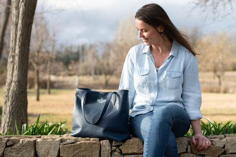 Leather Annabella Tote Bag in Navy by Angus Barrett