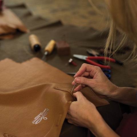 Hand-stitching the handles on the Annabella Tote Bag