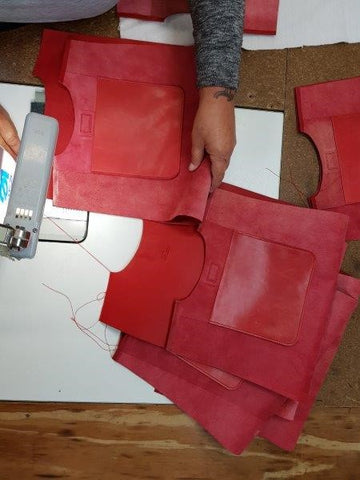 Here Tanya is diligently sewing the top hem of the Giovanni tote Bag, to create a beautifully finished edge.
