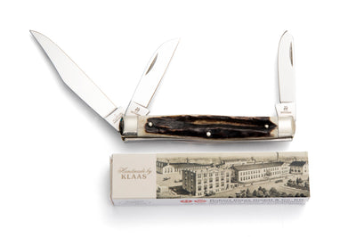 Robert Klaas 3 Blade Pocket Knife with Genuine Staghorn Handle - Made for Angus Barrett