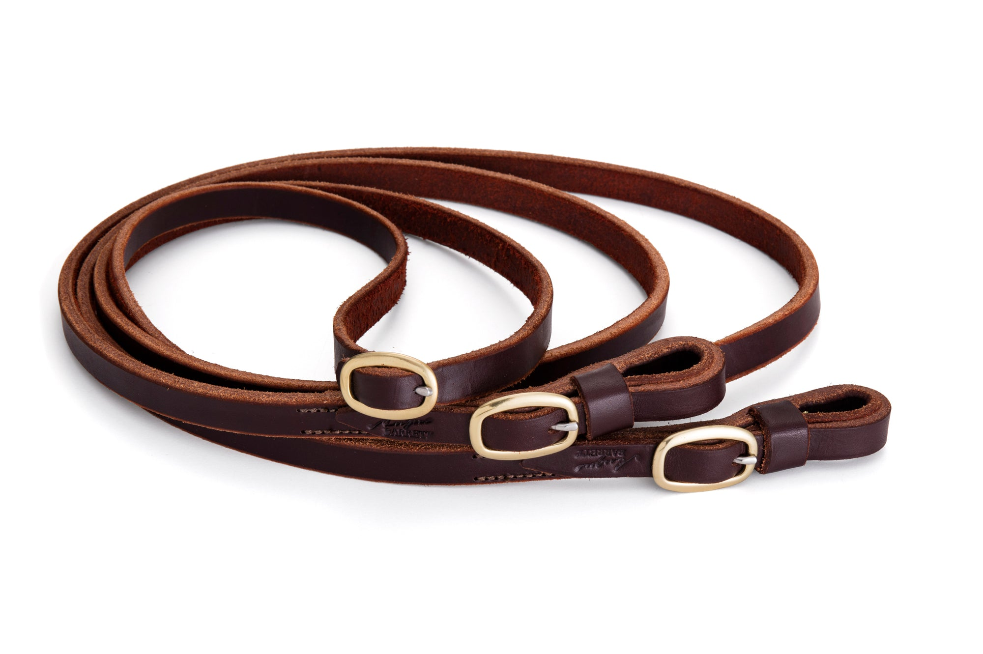 Angus Barrett Joined Reins in Dark Natural with brass buckles